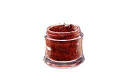 玻璃黑莓面部奶油面具在瓶子的 免版税库存图片