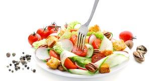 黄瓜、萝卜、大白菜、蕃茄、胡桃和油煎方型小面包片新鲜的沙拉  库存图片