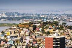 瓜亚基尔市视图从上面 免版税库存照片