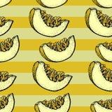 瓜传染媒介无缝的样式 与瓜被切的片断的手拉的对象在镶边背景的 夏天果子乱画样式 向量例证