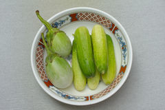 黄瓜和brinjal 免版税库存图片