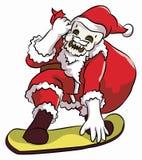 傻瓜圣诞老人雪板运动 免版税图库摄影