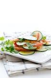 黄瓜蕃茄沙拉 库存照片
