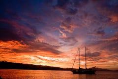 瓜达康纳尔岛日落 免版税库存照片