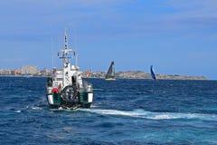 瓜迪亚民用小船富豪集团海洋种族阿利坎特2017年 免版税库存照片