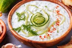 黄瓜,酸奶,橄榄油,大蒜希腊沙拉tzatziki  库存照片