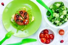 瓢虫三明治和蔬菜沙拉 免版税库存图片