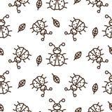 瓢虫和概述在白色无缝的传染媒介样式离开 库存例证