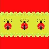 瓢虫和花例证,瓢虫卡片 免版税库存照片