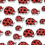 瓢虫家庭,您的设计的无缝的样式 免版税库存照片