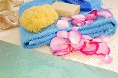 瓣玫瑰色肥皂海绵 库存图片