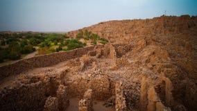 瓦丹堡垒废墟在撒哈拉大沙漠,毛里塔尼亚 免版税库存照片