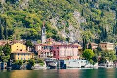 瓦伦纳村庄在科莫湖,意大利 图库摄影