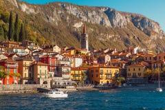 瓦伦纳村庄, Como湖,意大利 免版税图库摄影