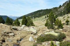 瓦勒de Madriu佩拉菲塔的垂悬的谷Claror 库存图片