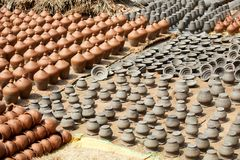 瓦器在尼泊尔,瓦器 库存照片