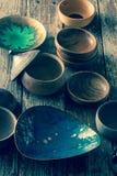 瓦器陶器盘的选择 免版税库存图片