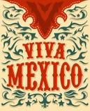 维瓦墨西哥-墨西哥假日海报-西部样式 库存照片