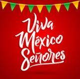 维瓦墨西哥Senores -维瓦墨西哥先生们西班牙文本,墨西哥假日 库存例证