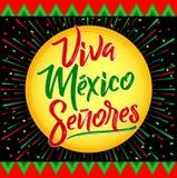 维瓦墨西哥Senores -维瓦墨西哥先生们西班牙文本,墨西哥假日 向量例证