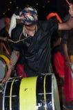 瓦尔卡拉,印度- 2016年3月23日:在Holi节日狂欢节的传统Kathakali舞蹈在瓦尔卡拉,喀拉拉,印度 免版税库存图片