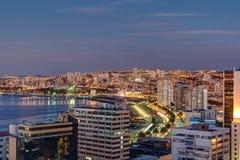 瓦尔帕莱索海湾黄昏的 免版税库存图片