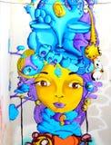 瓦尔帕莱索- 6月10 :街道艺术街道画在瓦尔帕莱索,智利 图库摄影