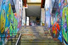 瓦尔帕莱索- 6月10 :街道艺术街道画在瓦尔帕莱索,智利 免版税库存图片