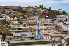 瓦尔帕莱索看法,在智利 库存照片