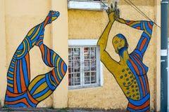 瓦尔帕莱索街艺术街道画 免版税库存照片