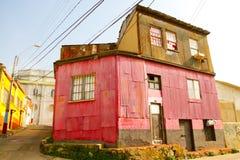 瓦尔帕莱索,智利-五颜六色的大厦 免版税库存图片