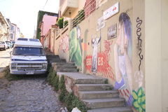 瓦尔帕莱索,比尼亚德尔马,智利街道  免版税库存照片