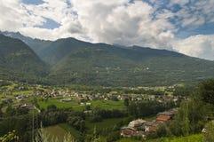 瓦尔泰利纳谷风景 库存照片