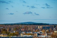 瓦尔米耶拉在拉脱维亚从上面 图库摄影