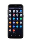 瓦尔纳,保加利亚- 2017年5月, 11日:三星星系S8智能手机 免版税库存图片