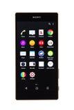 瓦尔纳,保加利亚- 2015年11月25日:手机模型索尼Xperia 免版税库存照片
