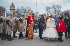 瓦尔纳,保加利亚- 2016年3月26日:欢乐春天狂欢节 免版税库存图片