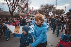 瓦尔纳,保加利亚- 2016年3月26日:瓦尔纳春天狂欢节 免版税库存照片
