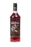 瓦尔纳,保加利亚- 8月17 2016年:一个瓶的照片摩根Rum上尉,隔绝在白色 摩根上尉是赞成兰姆酒品牌  库存图片