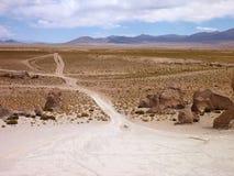 瓦尔de与超现实的冰砾的las rocas在玻利维亚的altiplano 免版税库存照片