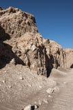 瓦尔de la月/月球月亮谷在圣佩德罗火山de阿塔卡马,安托法加斯塔-智利附近的阿塔卡马沙漠 库存图片