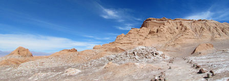瓦尔de la月/月球,月亮谷在圣佩德罗火山de阿塔卡马沙漠 图库摄影