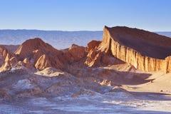 瓦尔de la月/月球,阿塔卡马沙漠,日落的智利 图库摄影