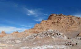 瓦尔de la的月/月球干燥沙漠在圣佩德罗火山de阿塔卡马 图库摄影