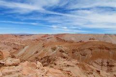 瓦尔de la的月/月球干燥沙漠在圣佩德罗火山de阿塔卡马 免版税库存图片