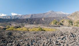 瓦尔del Bove,在火山Etna东翼的大沙漠熔岩谷  库存图片