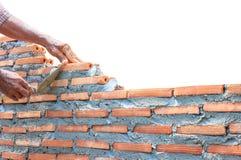 瓦工在白色隔绝的建造者墙壁 免版税库存图片
