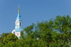 瓦拉姆群岛修道院的Spaso普列奥布拉任斯基大教堂 正统大教堂的钟楼 瓦拉姆群岛海岛,卡累利阿,俄罗斯 免版税库存照片