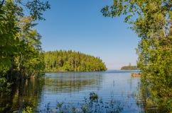 瓦拉姆群岛群岛的美丽如画的海岛 看法一个海岛和拉多加湖在一个夏天早晨 卡累利阿,俄罗斯 库存照片