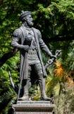 瓦斯科・达伽马雕象在埃武拉 库存图片